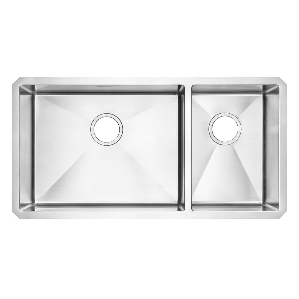 Pekoe Undermount Stainless Steel 35 in. 2-Hole Double Basin Kitchen Sink