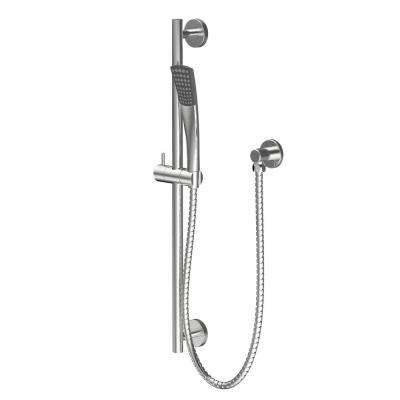 Adelais 1-Spray Cobra Wall Bar Shower Kit with Hand Shower in Brushed Nickel