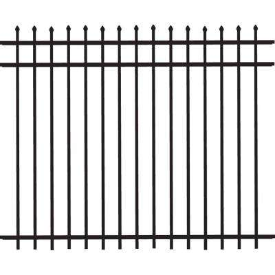 Cascade Standard-Duty 5 ft. H x 6 ft. W Black Aluminum Pre-Assembled Fence Panel