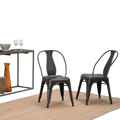 Merritt Distressed Black And Copper Metal Dining Arm Chair (Set Of 2)