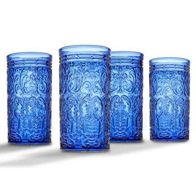 Jax 14 oz. Blue Crystal Highball Glasses (Set of 4)