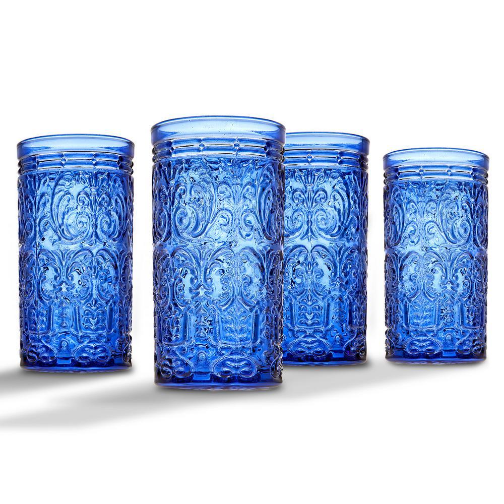 Godinger Jax 14 oz. Blue Crystal Highball Glasses (Set of 4)