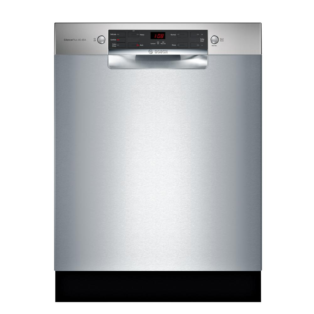 Bosch 300 Series 24 in. ADA Front Control Tall Tub Dishwasher in Stainless Steel with Stainless Steel Tub, 46dBA