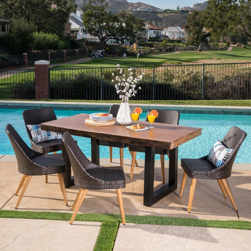 Oscar 30.25 in. Multi-Brown 7-Piece Iron Rectangular Outdoor Dining Set