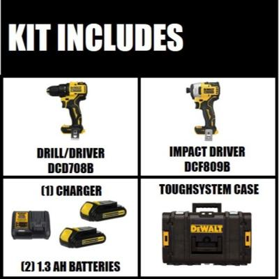 ATOMIC 20-Volt MAX Lithium-Ion Cordless Hammer Drill/Impact Combo Kit (2-Tool) with ToughSystem Case