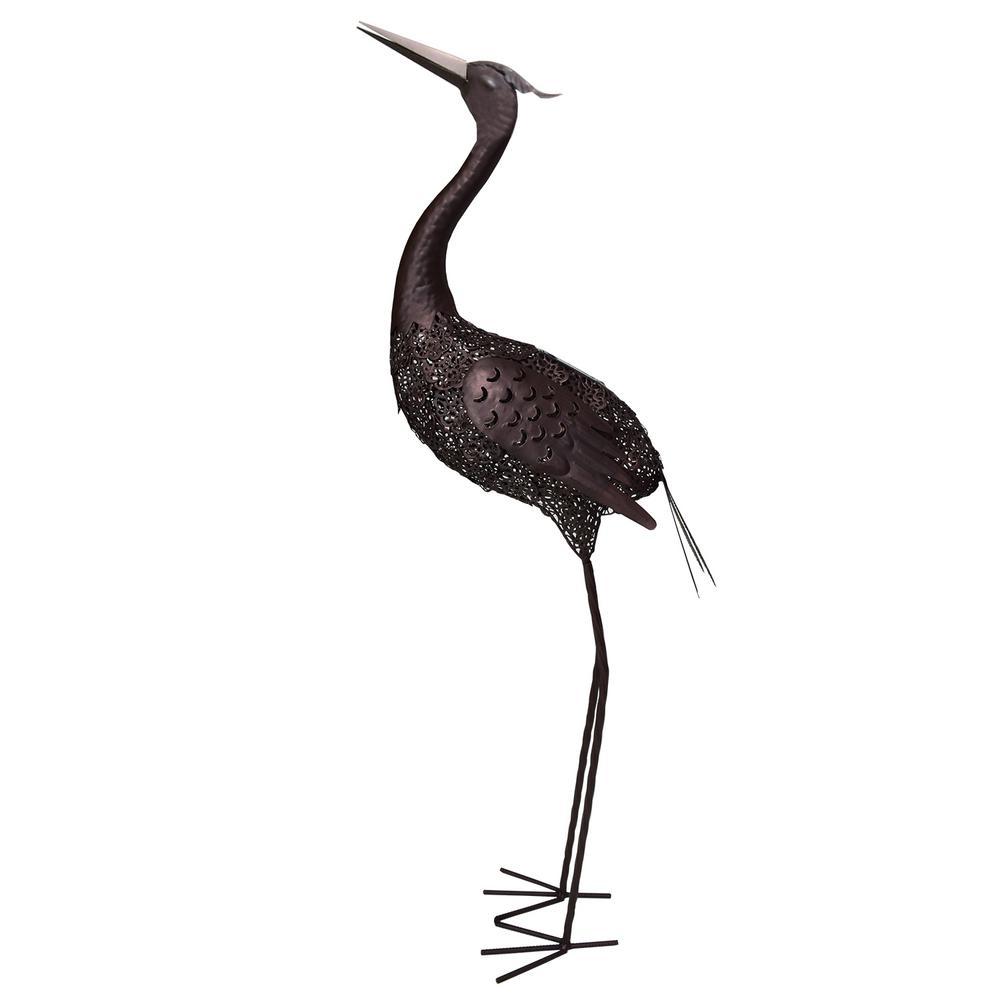 42 in. Steel Indoor/Outdoor Animal Garden Upward Facing Crane Metal Bird Sculpture Statue with Solar Light