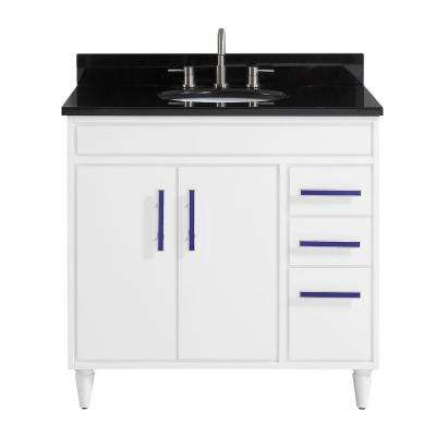 Layla 37 in. W x 22 in. D x 35 in. H Bath Vanity in White with Granite Vanity Top in Black with White with Basin