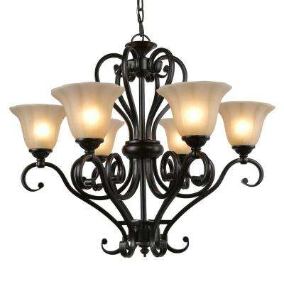 Eluna 6-Light Black Chandelier with Glass Shades