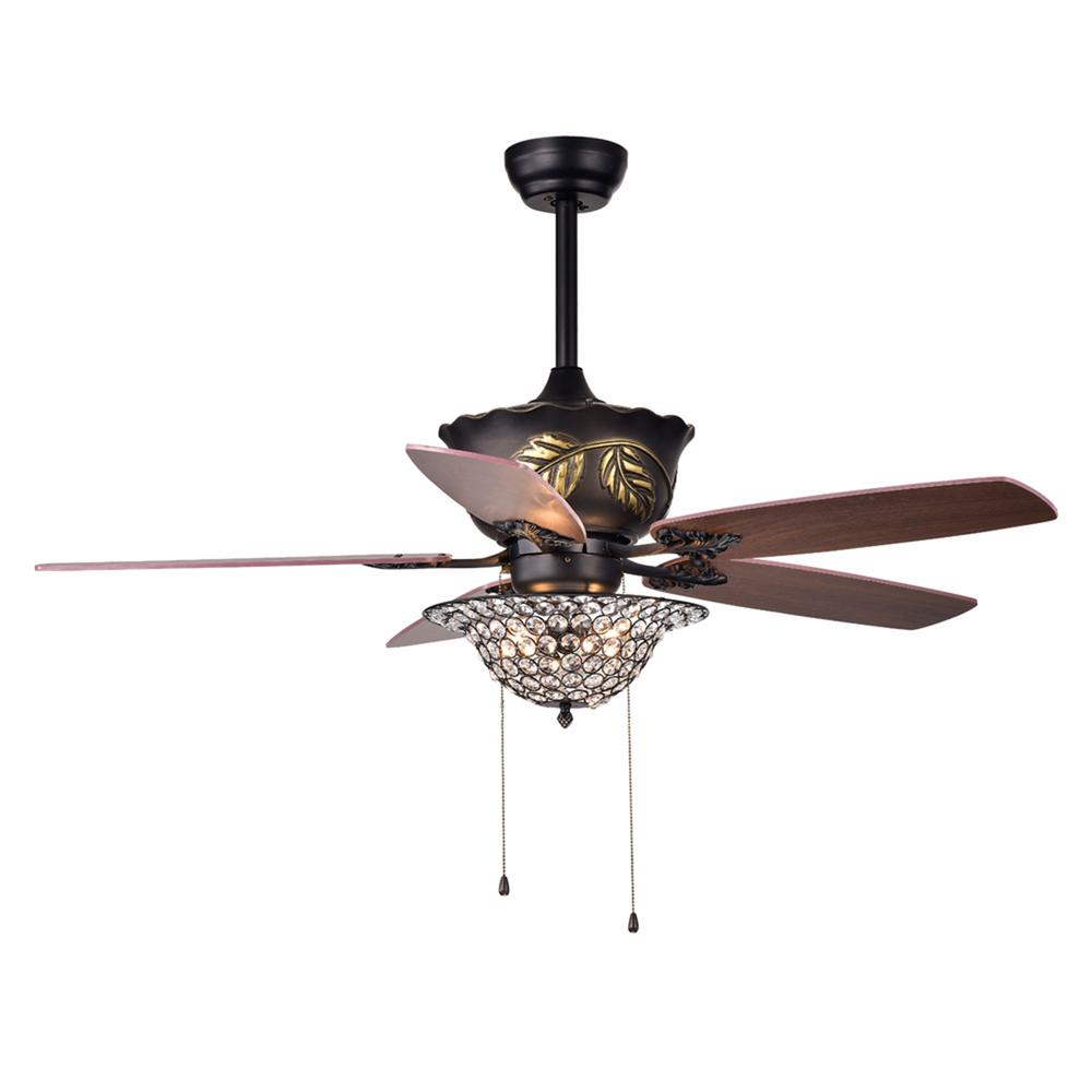 Warehouse of Tiffany Collins 52 in. Indoor Bronze Hand Pull Chain Ceiling Fan with Light Kit
