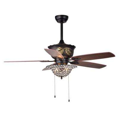 Collins 52 in. Indoor Bronze Hand Pull Chain Ceiling Fan with Light Kit
