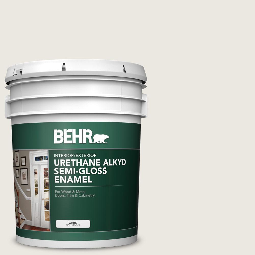 BEHR 5 gal  #AE-37 Snow Dust Urethane Alkyd Semi-Gloss Enamel  Interior/Exterior Paint