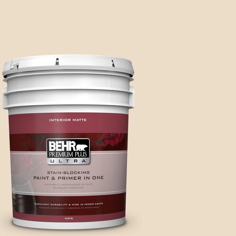 5 gal. #710C-2 Raffia Cream Flat/Matte Interior Paint and Primer in
