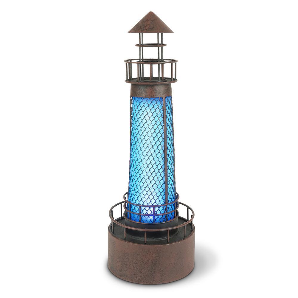 21 in. H Blue Metal Solar Lighthouse Garden Statue