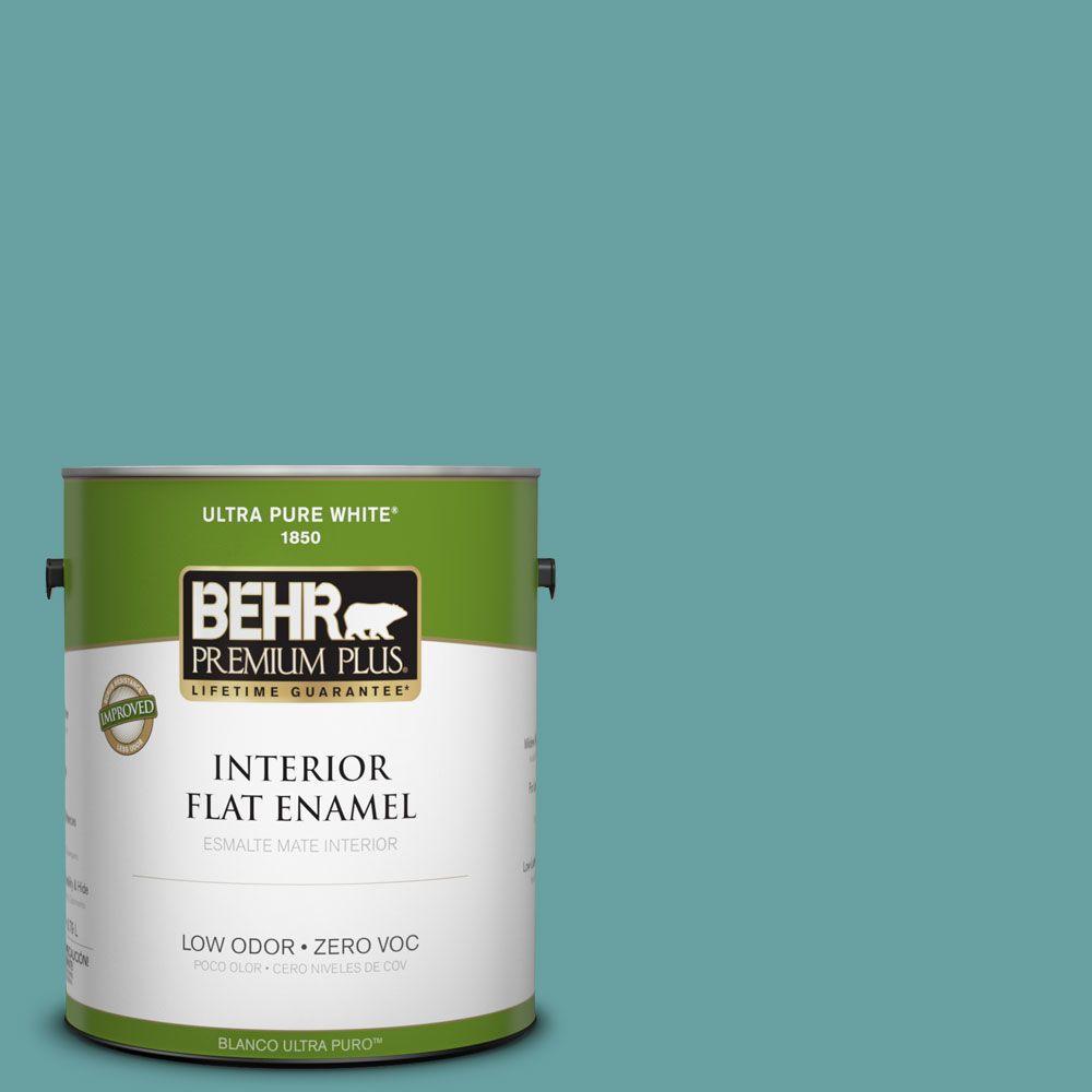 BEHR Premium Plus 1-gal. #T13-20 Folk Song Zero VOC Flat Enamel Interior Paint-DISCONTINUED