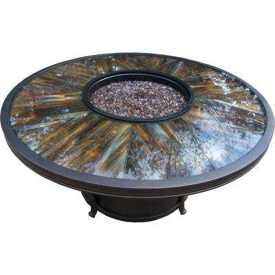 Aluminum 48 in. x 23.31 in. Round Gas Firepit Table with Tempered Glass Top Burner system and Weather Fabric Cover