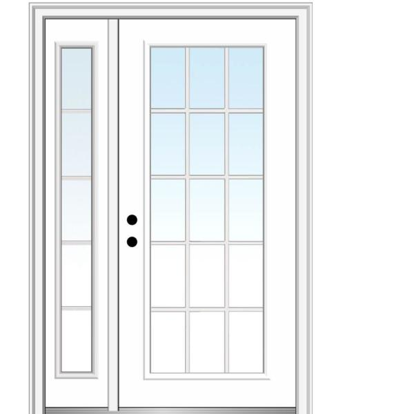 51 in. x 81.75 in. Clear Glass 15 Lite Right Hand Classic Primed Fiberglass Smooth Prehung Front Door with One Sidelite