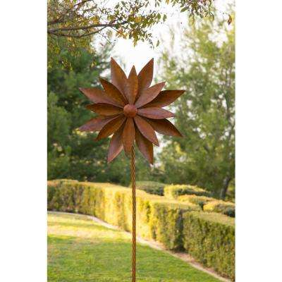 96 in. Tall Rustic Metal 3D Rudbeckia Garden Stake Windmill Spinner