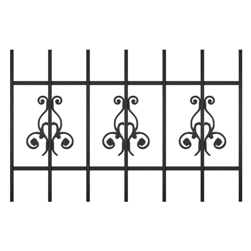 Unique Home Designs La Entrada 36 in. x 24 in. Black 7-Bar Window Guard-DISCONTINUED