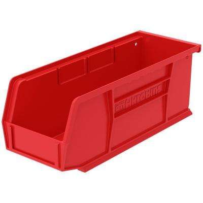AkroBin 4.1 in. 10 lbs. Storage Tote Bin in Red with 0.5 Gal. Storage Capacity