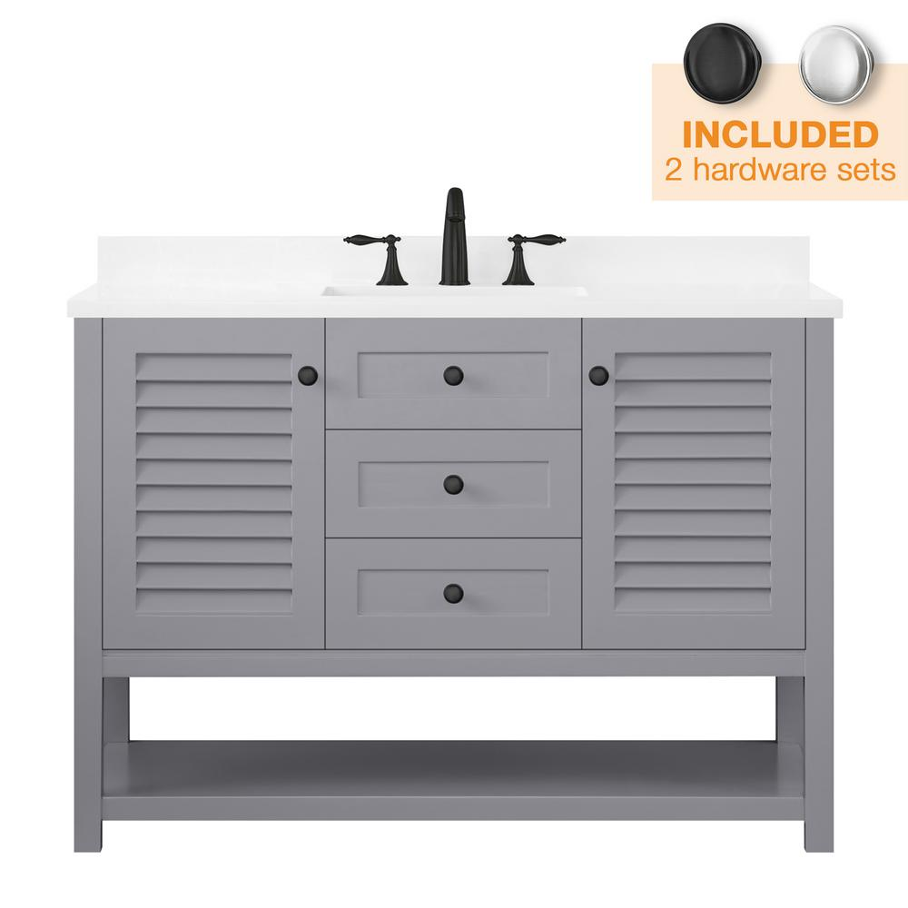 Home Decorators Collection Grace 48 in. W x 22 in. D Bath Vanity in Pebble Grey with Cultured Marble Vanity Top in White with White Basin