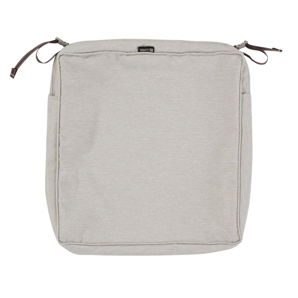 Montlake Fade Safe Heather Grey 19 In. Square Outdoor Seat Cushion