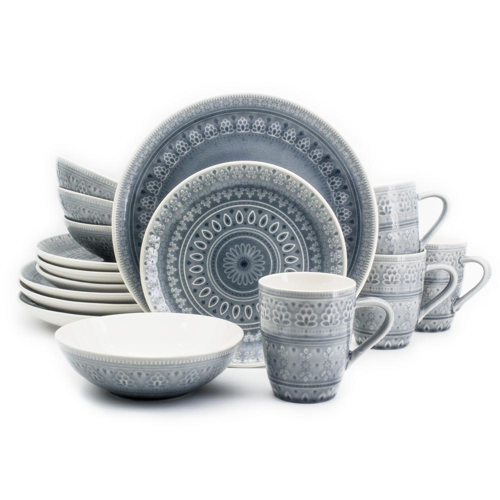 Fez 16-Piece Patterned Grey Stoneware Dinnerware Set (Service for 4)