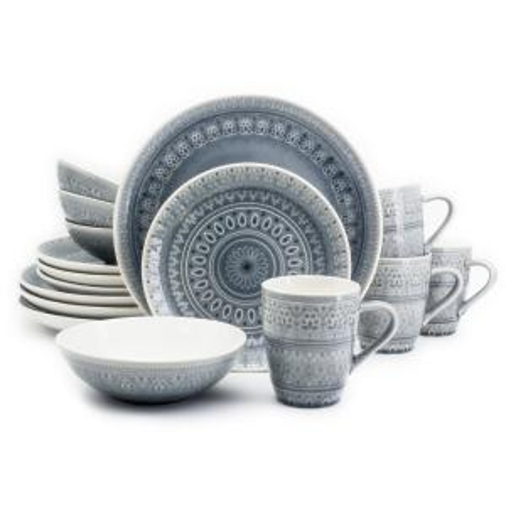 Fez 16-Piece Gray Dinnerware Set