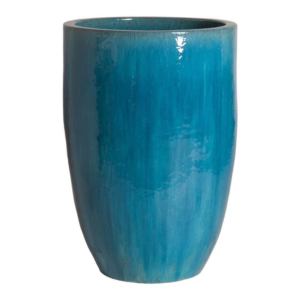 Round Blue Ceramic Tall Planter 12143bl