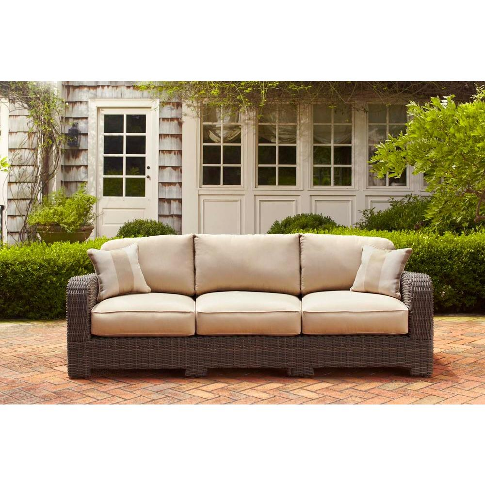 Brown Jordan Northshore Patio Sofa with Harvest Cushions and Regency Wren Throw Pillows -- STOCK