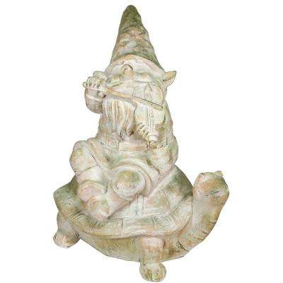 20 in. Tall Mossy Stone Garden Gnome Playing Fiddle on Turtle Statue