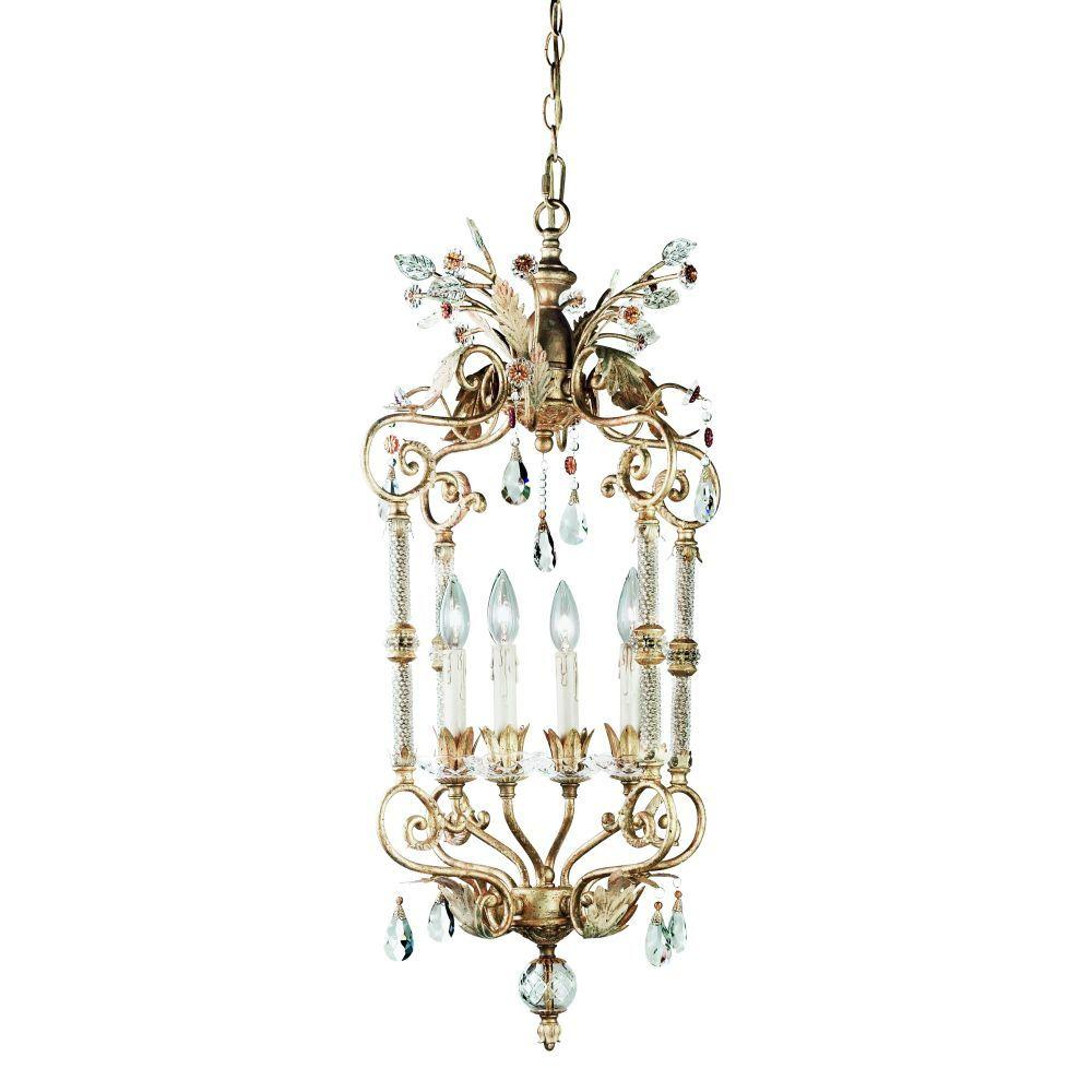 Eurofase Dahlia Collection 4-Light Antique Gold Hanging Large Pendant