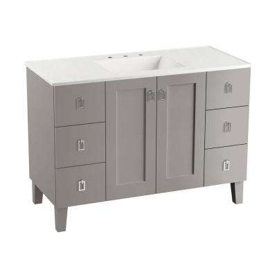 Poplin 48 in. W Vanity Cabinet in Mohair Grey with Vitreous China Vanity Top in White Impressions with Basin