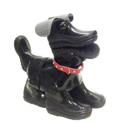 15 in. Abby the Boot Buddies Dog Sculpture and Planter Home and Garden Loyal Companion Black Gloss Statue