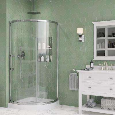 Maia 32 in. x 72.80 in. Semi-Frameless Sliding Shower Door in Chrome with 32 in. x 32 in. Base in White