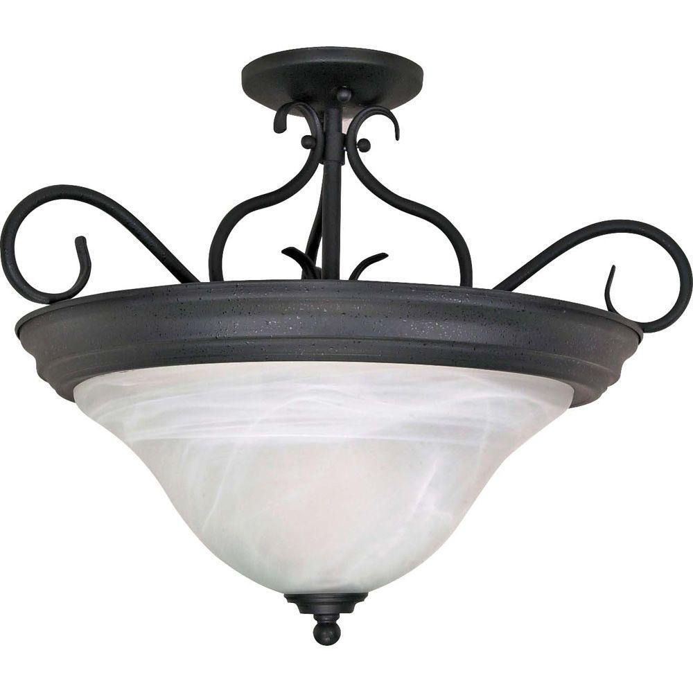 Adria 3-Light Textured Flat Black Semi-Flush Mount Light with Alabaster Swirl Glass