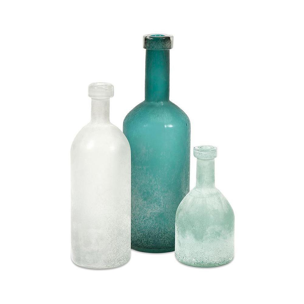 IMAX Kellen White, Aqua, and Soft Blue Glass Bottles (Set of 3)
