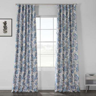 Fullbloom Blue Printed Linen Textured Blackout Curtain - 50 in. W x 84 in. L (1-Panel)