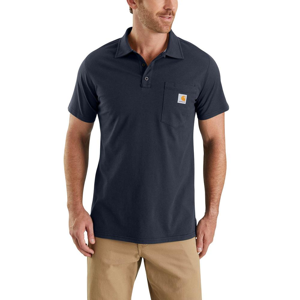 Carhartt Men's Small Navy Cotton/Polyester Force Cotton Delmont Pocket Polo  Shirt