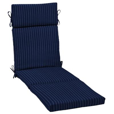21 in. x 29.5 in. Chaise Lounge Cushion in Navy Woven Stripe