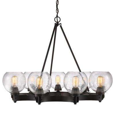 Galveston 9-Light Rubbed Bronze Chandelier with Seeded Glass Shade