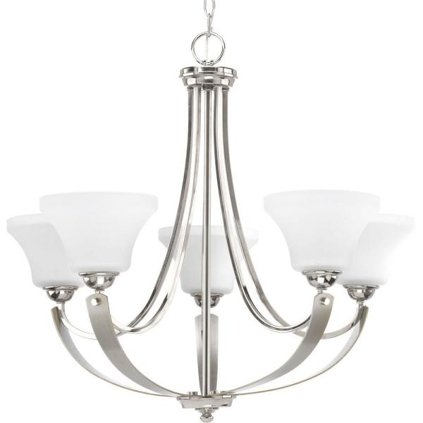 Noma Collection 5-light Polished Nickel Chandelier with Etched Glass Shade