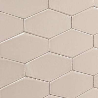 Birmingham Hexagon Taupe 4 in. x 8 in. 8mm Polished Ceramic Subway Tile (5.38 sq. ft. / box)
