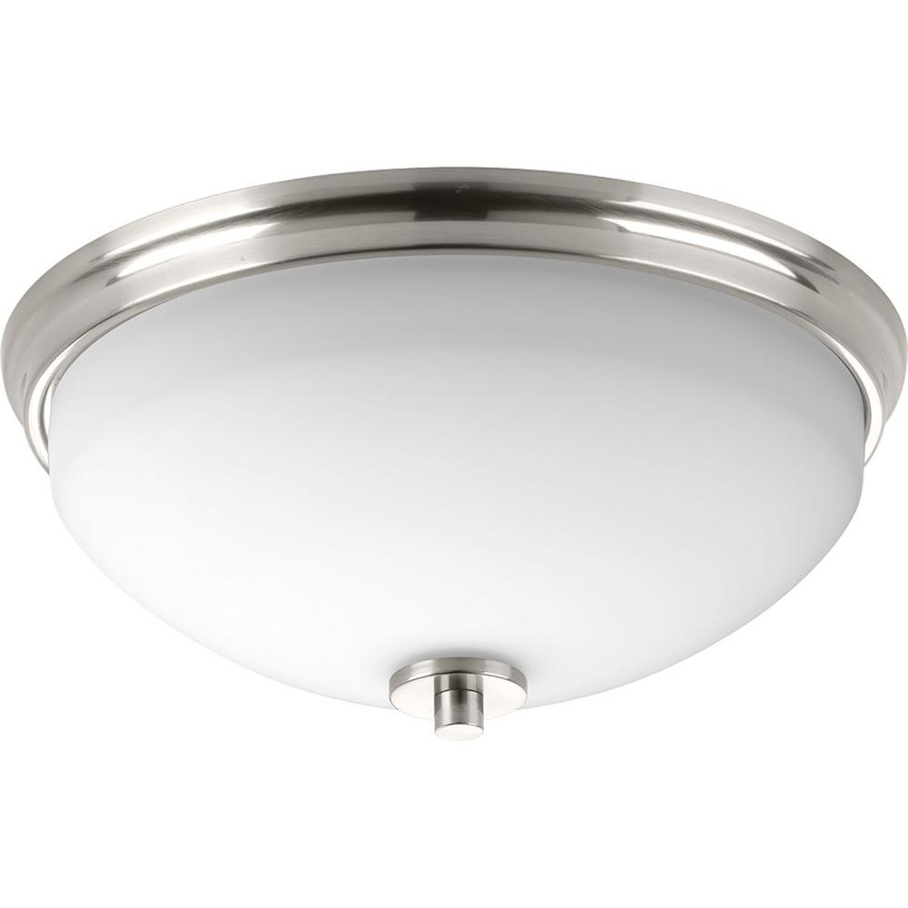 Replay 2-Light Brushed Nickel Flush Mount with Etched Glass Shade