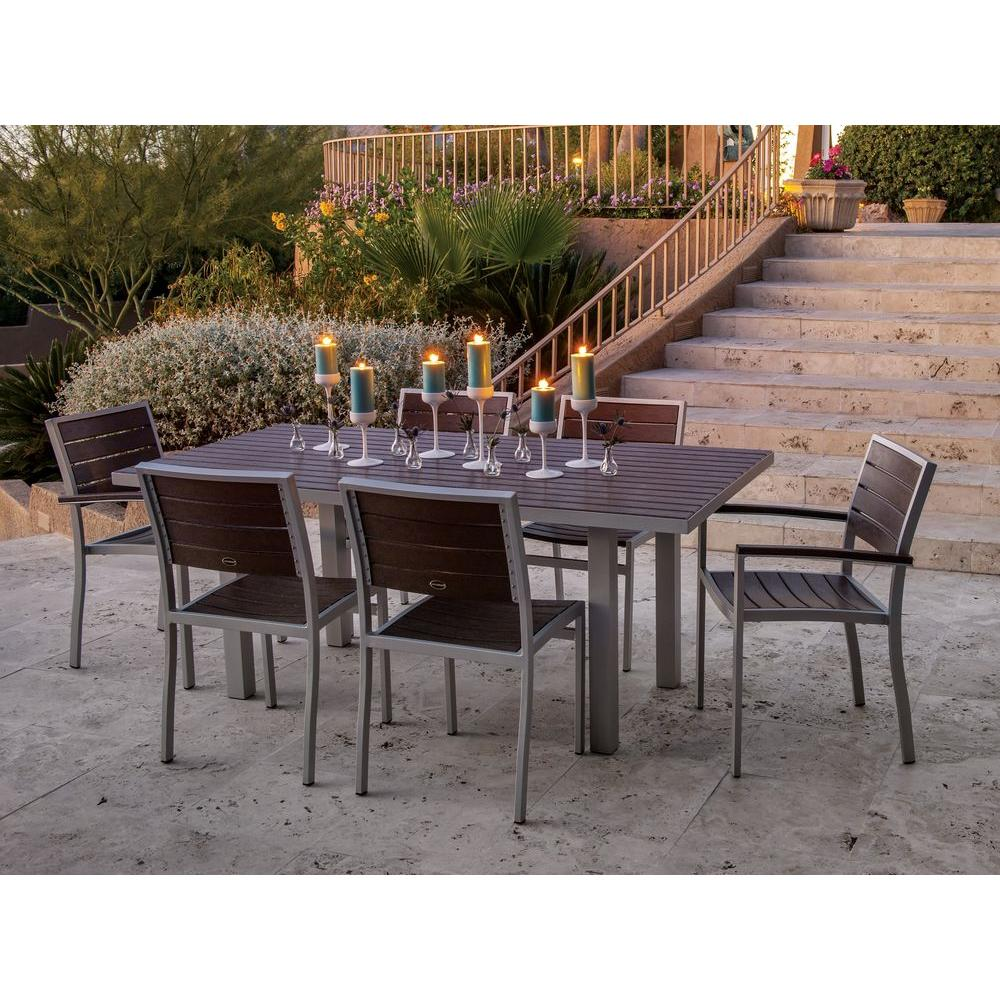 POLYWOOD Euro Textured Silver All Weather Aluminum Plastic Outdoor Dining Set In Mahogany Slats