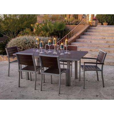 Euro Textured Silver 7-Piece Patio Dining Set with Mahogany Slats
