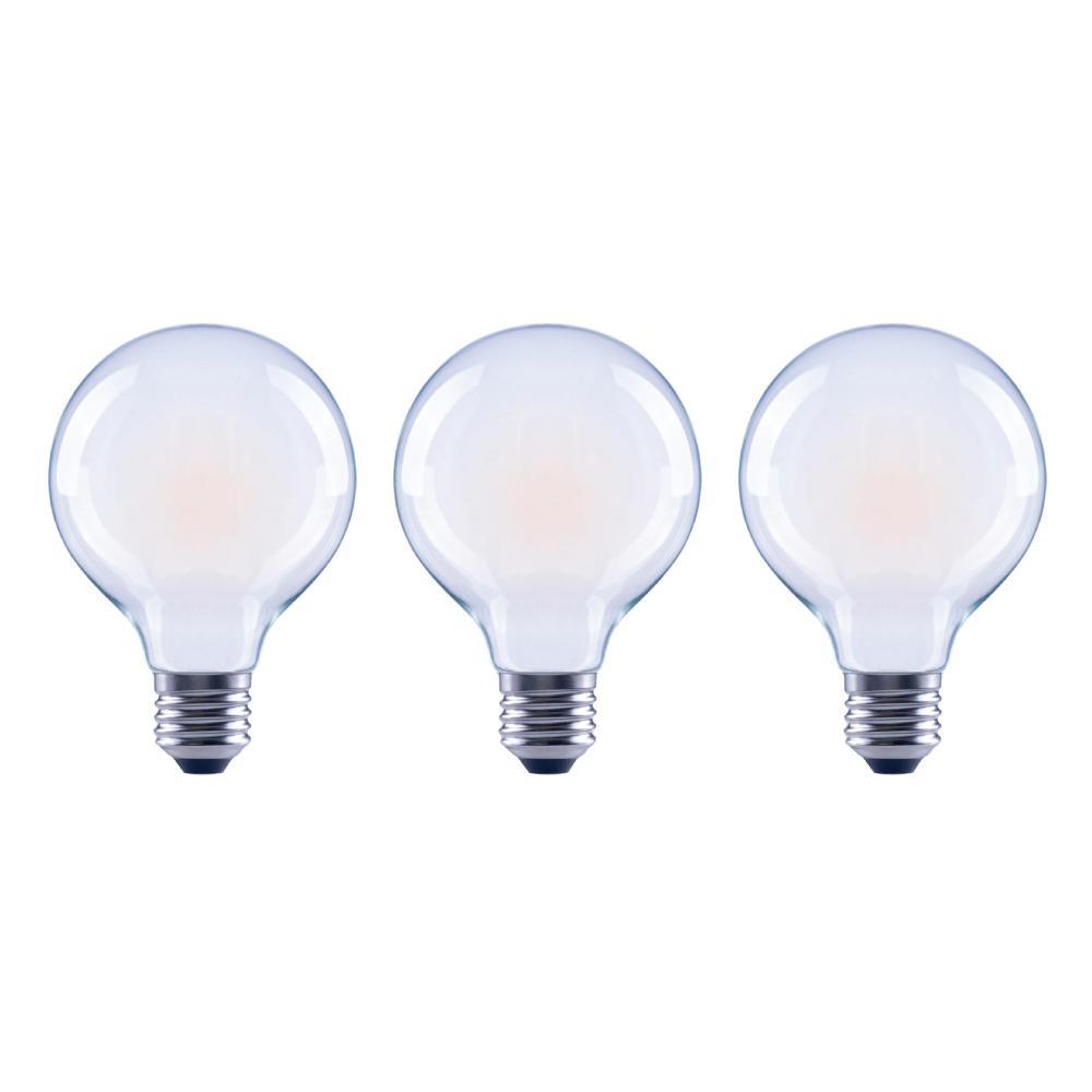 60-Watt Equivalent G25 Globe Dimmable Energy Star Frosted Glass Filament Vintage LED Light Bulb Soft White (3-Pack)