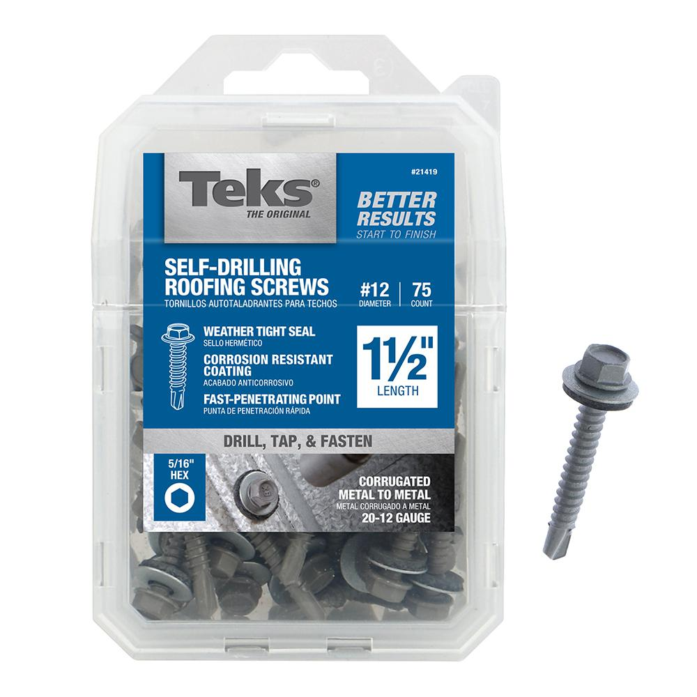 Teks 12 14 X 1 1 2 In Hex Washer Head Roofing Drill Point Screw 75 Pack 21419 The Home Depot