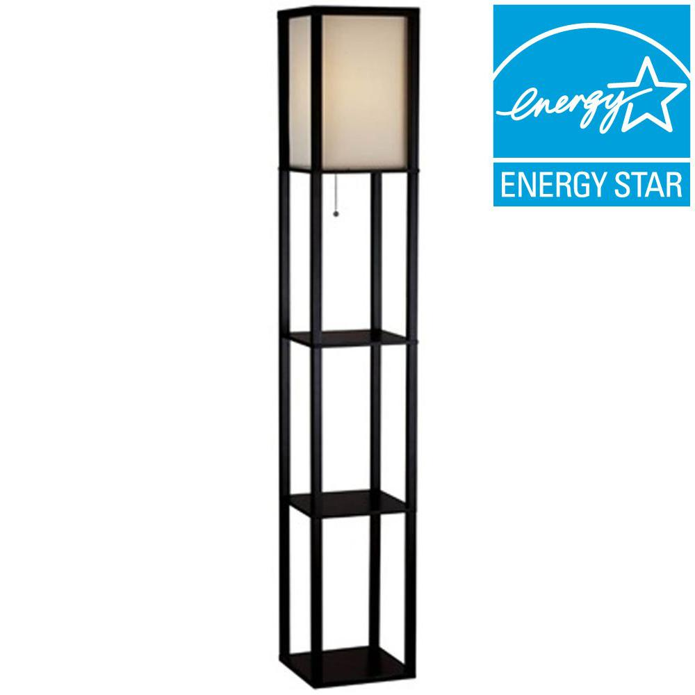 62.75 in. Black Shelf Floor Lamp with Ivory Fabric Lamp Shade