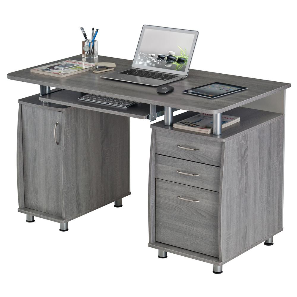 Techni Mobili 46 in. Rectangular Gray 46 Drawer Computer Desk with Keyboard  Tray-RTA-46-GRY - The Home Depot