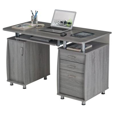 48 in. Rectangular Gray 3 Drawer Computer Desk with Keyboard Tray